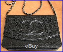 Genuine Chanel Woc Walle On A Chain Caviar Black Leather Gold Tone Hardware
