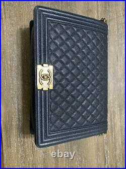 Good Condition Full Set! Chanel Quilted Caviar Large Le Boy Bag in Navy/Gold