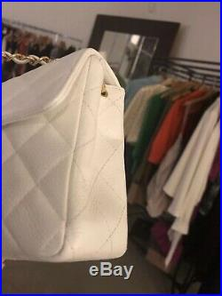 Gorgeous 100% Auth CHANEL White 24k Gold CC Caviar Quilted Mini Flap Crossbody