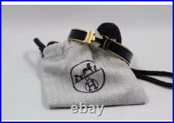 HERMES 18K Gold Enamel Bracelet Classic Clic Clac H Bangle Black