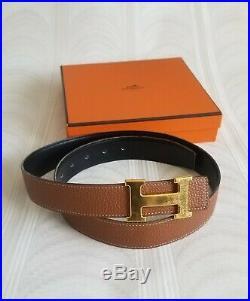 HERMES Belt H Mini Constance Gold Size 85 Reversible Authentic