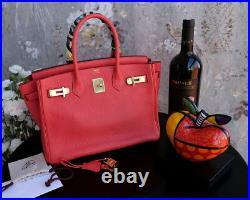 HERMES Birkin 30cm rouge red gold hardware leather bag purse togo clemence coeur