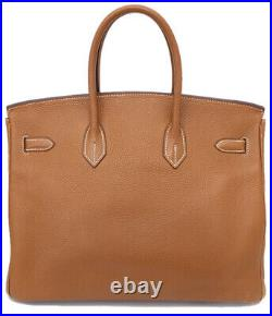 HERMES Birkin 35 Taurillon Clemence Handbag Gold/Silver Hardware I 2005 #53609