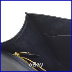 HERMES CONSTANCE Shoulder Bag Purse Navy Box Calf Vintage Authentic NR13916