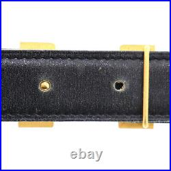 HERMES H Logos Waist Belt Leather Ivory White Gold-Tone France Auth #UU239 O