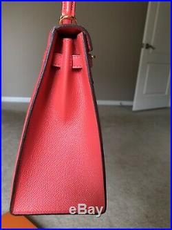 HERMES KELLY 25cm Rose Jaipur Epsom GHW Sellier Pristine Full Set