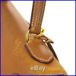HERMES KELLY 32 RETOURNE 2way Hand Bag Gold Togo S Z 0 RK14523