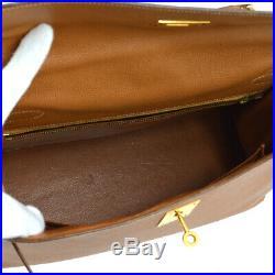 HERMES KELLY 32 SELLIER 2way Hand Bag Beige Veau Greine Couchevel P NR13970a