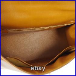 HERMES KELLY 32 SELLIER 2way Hand Bag T Purse Gold Veau Greine Courchevel 80431