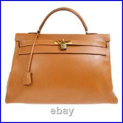 HERMES KELLY 40 RETOURNE Hand Bag Purse Gold Veau Greine Courchevel UT 60172