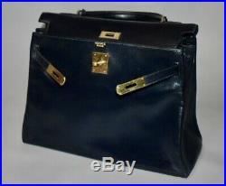 HERMES KELLY Vintage 32 Navy Blue Calf Leather Gold Hardware Organizer Hand Bag
