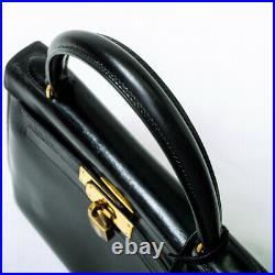 HERMES Kelly 28 Handbag Boxcalf K 1981 Black Noir Gold vintage Outer stitch