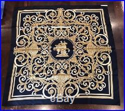 HERMES LES TUILERIES Silk Scarf Black Gold Gorgeous! Paris France
