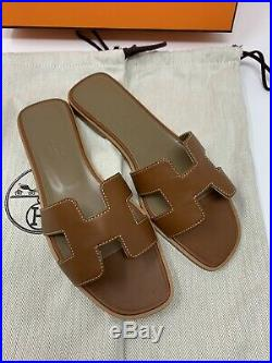 HERMES Oran H Sandals in Classic Gold Size 37.5 (Brand New In Box)