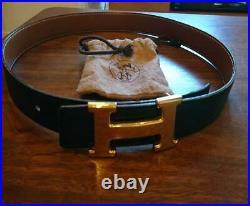 HERMES Reversible Belt Size 65 Gold x Black x Camel Constance H Buckle Gold Tone