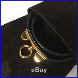 HERMES Rivale (Kelly) Double Tour Bracelet Bangle Black Gold Size Small S