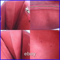 HERMES Shoulder Bag Red Leather Vintage France Circle N 1984 Authentic #Z872 W