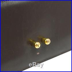 HERMES Vintage Hand Bag Dark Brown Box Calf Purse Authentic AK38408b