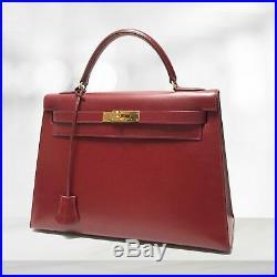 HERMES Vintage Kelly 32 Sellier Dark Red Rouge Box Leather Gold Hardware Bag