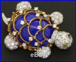 Hammerman Bros. France Platinum/18K diamond tsavorite & lapis turtle brooch