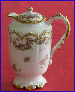 Haviland Limoges France Chocolate Pot And 6 Cups Saucers Pink Roses Double Gold