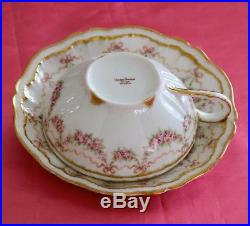Haviland Limoges France Cup Saucer Set Pink Rose Swags Ribbons Bows Double Gold