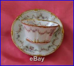 Haviland Limoges France Cup Saucer Set Pink Rose Swags Wreaths Double Gold
