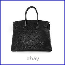 Hermes 2015 Noir Black Veau Togo Leather Birkin 35 Bag Handbag Gold Hardware