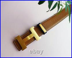 Hermes Belt Brush Gold Buckle Black Gold Strap Reversible Leather Belt EU 95cm
