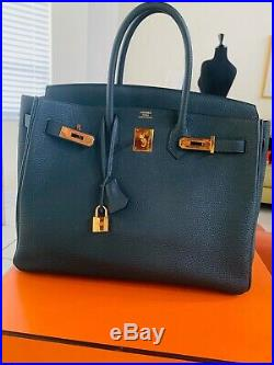 Hermes Birkin 35, 2017 With Receipt, Togo Leather Vert Fonce Gold Ghw Auth