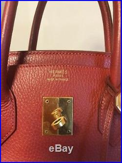 Hermes Birkin Bag 35 Ardenne Leather Rouge Vif, Gold Plate Color In O Year Made
