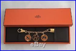 Hermes Breloque Metal Bag Charm For Birkin Gold Tone Engraved Made in France