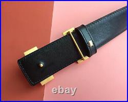 Hermes Brush Gold Buckle Black Gold Strap Reversible Leather Belt EU Size 95cm