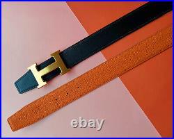 Hermes Brush Gold H Buckle Black Orange Reversible Leather Strap 38mm Belt Men