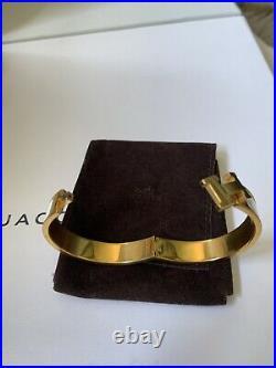 Hermes CLIC Clac White Gold H Narrow Enamel Bracelet Cuff Pm