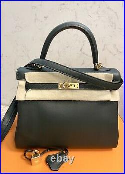 Hermes Kelly 25 Vert Fonce Gold Hardware Bag Birkin Like Black Gray Grey Green