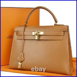 Hermes Logo Kelly 32 Hand Bag Cadena Box Calf Leather Beige Gold Vintage 799e014