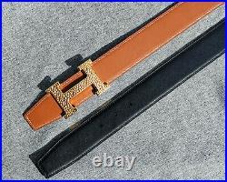 Hermes Martelee Black Brown Leather Gold Hardware H Logo Reversible Belt 40 US