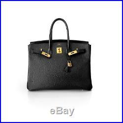 Hermes Noir Black Vache Ardennes Leather Birkin 35 Bag Handbag Gold Hardware
