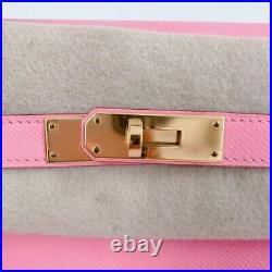 Hermes Rose Confetti Pink Kelly 32 Bag Epsom Sellier Gold T Stamp excellent rare
