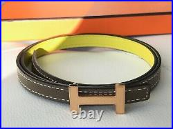 Hermes Thin Yellow Lime Etoupe Epsom Leather Belt Rose Gold Buckle Size 70 Small