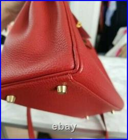 Hermes Vermillion Red Retourne Kelly 28cm TOGO leather gold hardware MINT Birkin