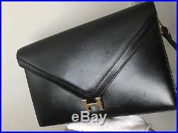 Hermes Vintage Lydie Black Box with Gold HW removable strap Shoulder Bag