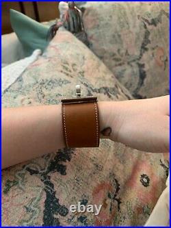 Hermes Womens Brown Leather Silver Tone Kelly Dog Bracelet