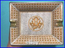 Hermes gold decorative mosaic valet tray made in France size19.5 cm x 16 cm