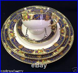 J Pouyat JP LIMOGES France 35 pc table china plate cup cobalt blue gold scroll