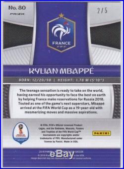 Kylian Mbappe France #80 2018 Panini Prizm Gold Power Prizms 2/5