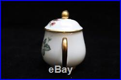 LIMOGES FRANCE POTS DE CREME Rare Set of 7 Strawberry & Gold Detail with Tops