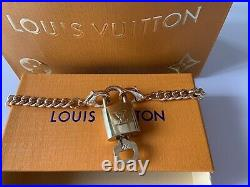 LOUIS VUITTON AUTH LV LOGO CHAIN NECKLACE WithWORKING LOCK & KEY LV DRAWER BOX