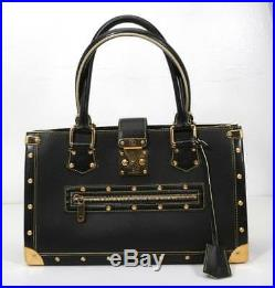 LOUIS VUITTON Black SUHALI Leather LE FABULEUX Gold-Studded Handbag Purse Bag